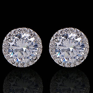 Women-039-s-Crystal-Zircon-Inlaid-Ear-Stud-18K-White-Gold-Plated-Earrings-Jewelry