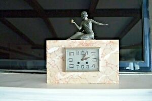 Art-Deco-Statue-Bronze-Marble-Clock-With-Key-Circa-1930-Shelf-Mantel-Collector