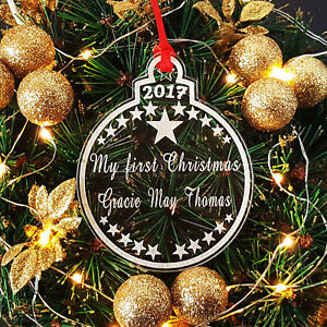 Personalised My First Christmas Bauble Babys 1st Xmas Tree Ornament
