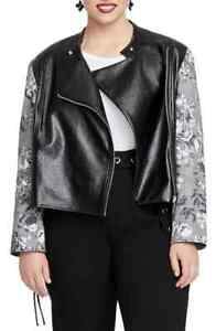 Rachel Rachel Roy Women's Black Size 0X Plus Pleather Moto Jacket $149 #055