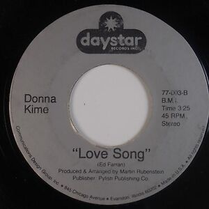 Details About Donna Kime Love Song Queen Of Carmel Obscure Daystar Vocals 45 Hear It