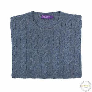 Ralph-Lauren-Purple-Label-Blue-100-Cashmere-Piped-Cable-Knit-Crew-Sweater-XL