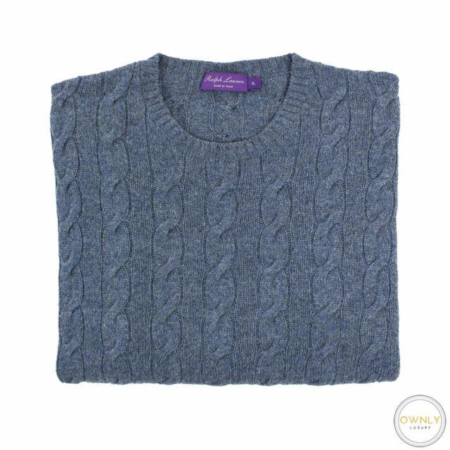Ralph Lauren Purple Label Blue 100% Cashmere Piped Cable Knit Crew Sweater XL