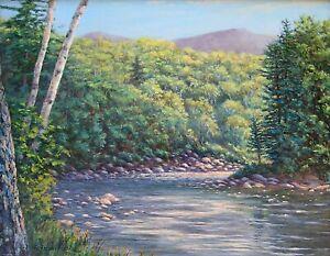 River Mountain Birch Tree Summer original 11x14 oil landscape painting