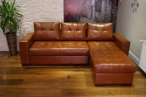 Echtleder Ecksofa Couch Mit Schlaffunktion 100 Echtes Leder Eck