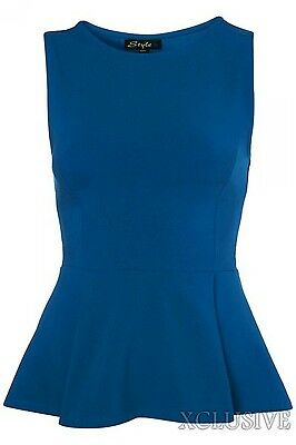 New Womens Plus Size Peplum Flared Tops Sleeveless Fitted Frill Vest Tops