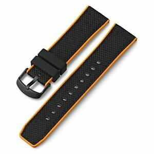 Timex 22mm Silicone Quick-Release Strap – Black & Orange Accents with Black B...
