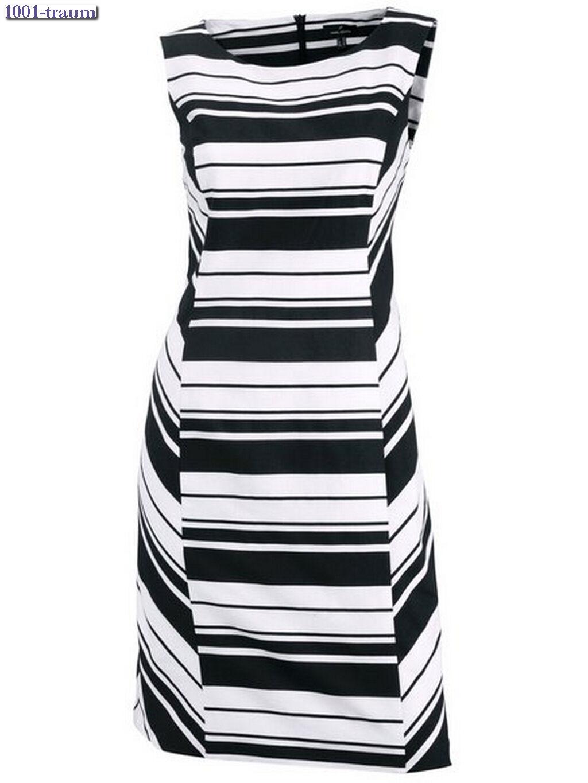 Etuikleid Kleid von DANIEL HECHTER Paris schwarz-weiß gestreift Gr. 38 NEU