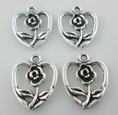 13//39pcs Tibetan Silver Rose Flower Heart Charms Pendants DIY Jewelry Making