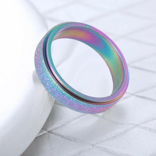 Multicolor lWomen/'s Stainless Steel Spinner Ring Sand Blast Finish Size 6-13 IN
