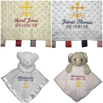 Personalizzati Baby Trapunta Coperta Di Sicurezza Etichetta Da Regalo Ragazzo Ragazza Morbido Bianco Avorio- Ultima Tecnologia