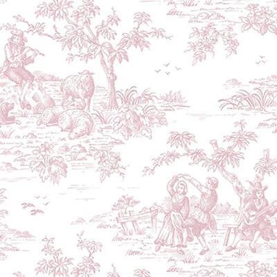 Norwall Small Pink Garden Toile on Soft White Wallpaper FL26187