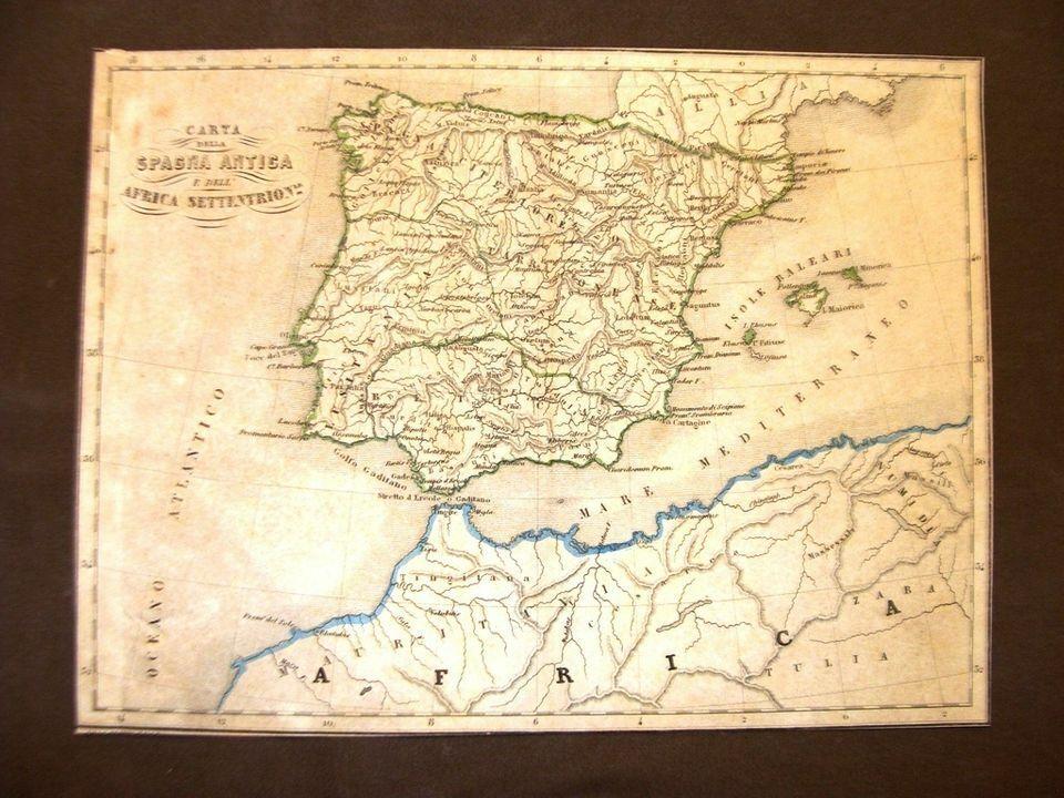 Mappa Spagna Nord Ovest.Carta Geografica O Mappa Di Fine 800 Spagna Antica E Africa Del Nord Marmocchi Ebay