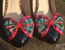 Plaid Shoe Clips 4 Shoes Royal Stewart Tartan Bows Pinup Vintage Rockabilly