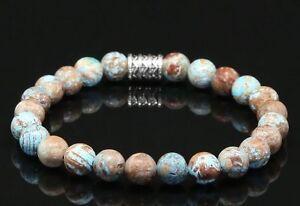 Herbst-Jaspis-Armband-Bracelet-Perlenarmband-Buddha-8mm
