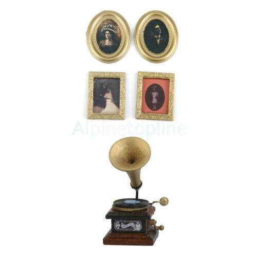 4x Painting Mural Wall Picture+1x Gramophone for 1:12 Dolls House Miniature Dec