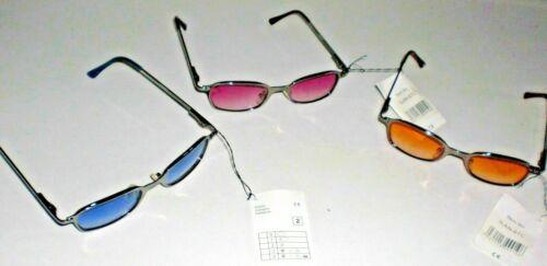 oranges Glas blau Sonnenbrille silberfarbiger Rahmen rot außergewöhnlich