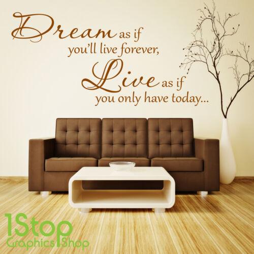 Dream live Wall Sticker Citation-Chambre Salon Mur Art Autocollant x170
