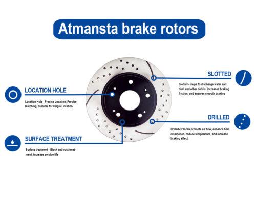 Rear Drilled Brake Rotors for 2008-2010 Honda Accord 2009 2010 Acura TSX//10529