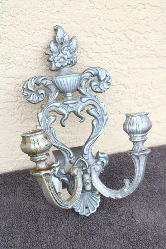 Metal Wall candle sconce MEDIEVAL Old Estate Gothic Props holder Pewter Tone
