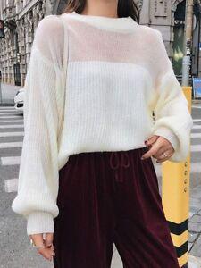 the best attitude 7238d 16382 Dettagli su Comodo caldo maglione bianco maxi maglia morbido misto lana 4740