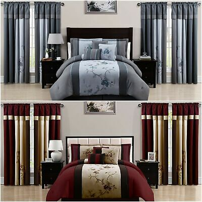 Chezmoi Collection Vienna 7 Piece, Bedding Set With Curtains