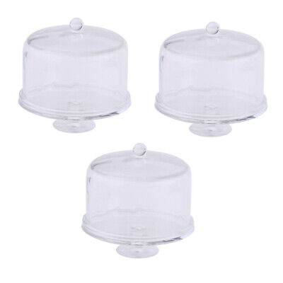 1//12 Acrylic Cake Stand Plate with Lid Dollhouse Miniature Kitchen Accessory