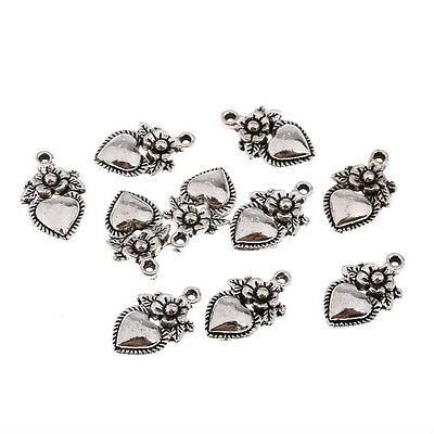 10pcs Heart Tibetan Silver Bead charms Pendants fit bracelet necklace 15*12mm