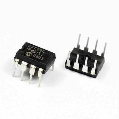 10PCS 24C02C//P IC EEPROM 2KBIT 400KHZ 8DIP 24C02