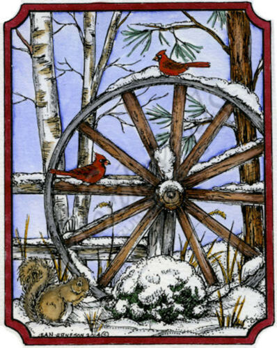 Winter Wagon Wheel With Birds Wood Mounted Rubber Stamp NORTHWOODS P9627 New