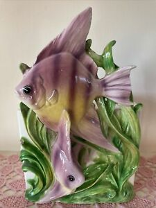 Vtg-Lefton-Tropical-Fish-Angelfish-Planter-Vase-Ceramic-Porcelain-Purple-Green