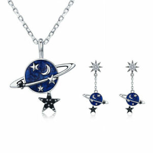 Fashion-Jewelry-Set-Planet-Earth-925-Sterling-Silver-Pendant-Necklace-amp-Earrings