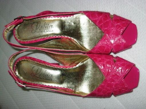 KROKO Sandaletten Gr.38 leuchtend pink LOLITA Milano Leder Pumps rot