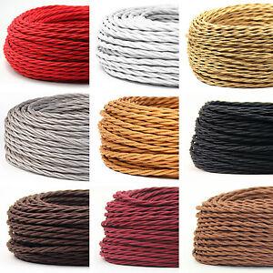 Textilkabel Stoffkabel Lampen Kabel 2 Adrig Gedreht Stromkabel Elektrokabel Ebay