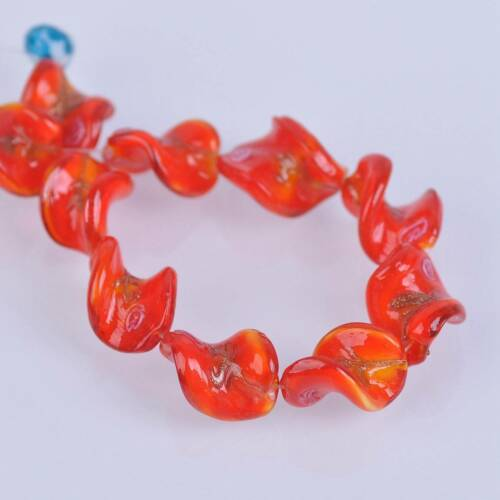 10pcs 18x14mm Twist Lampwork verre fait main fleurs Loose Beads Jewelry Making