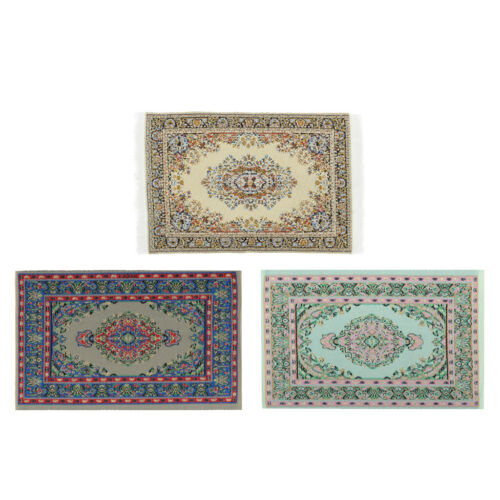3x 1//12 Dollhouse Miniature Rug Turkish Style Carpet Floor Covering Area Rug