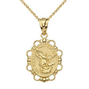 Fine 10k Yellow Gold Engravable Saint Michael Pray For Us Round Pendant Necklace