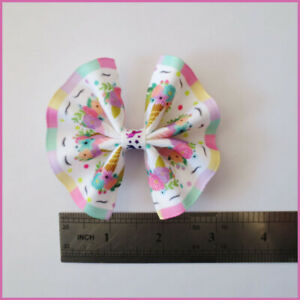 """100 BLESSING Girl 3/"""" Fan Hair Bow Clip Colorful Unicorn Accessories Wholesale"""