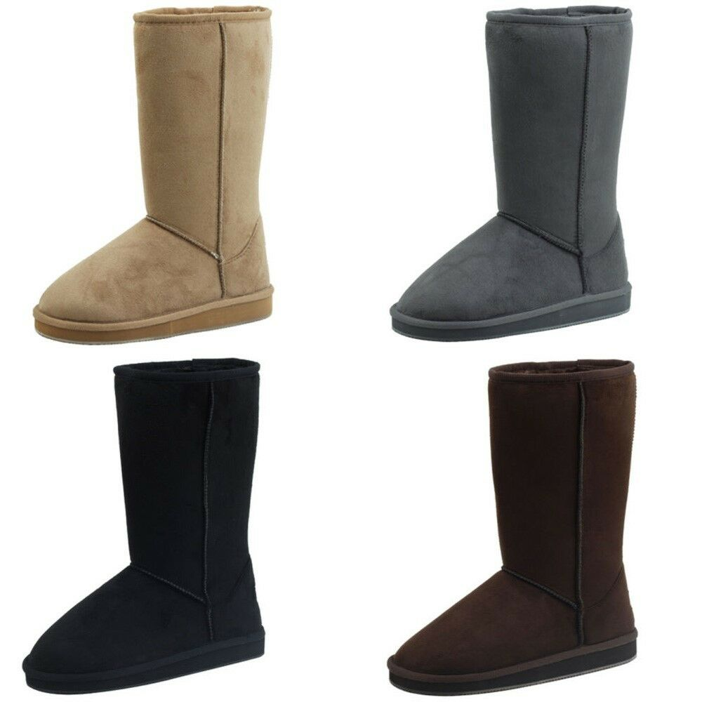 Women's Winter Boots Fashion Faux Suede Mid Calf Warm Fur Shoes, Colors, Sizes