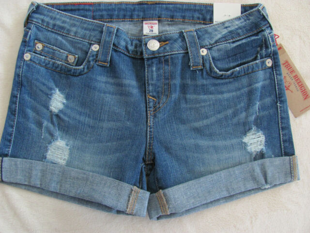 3a2be75e21 True Religion Mid Cut Off Denim Jean Shorts -Northern Shore- Size 29- NWT