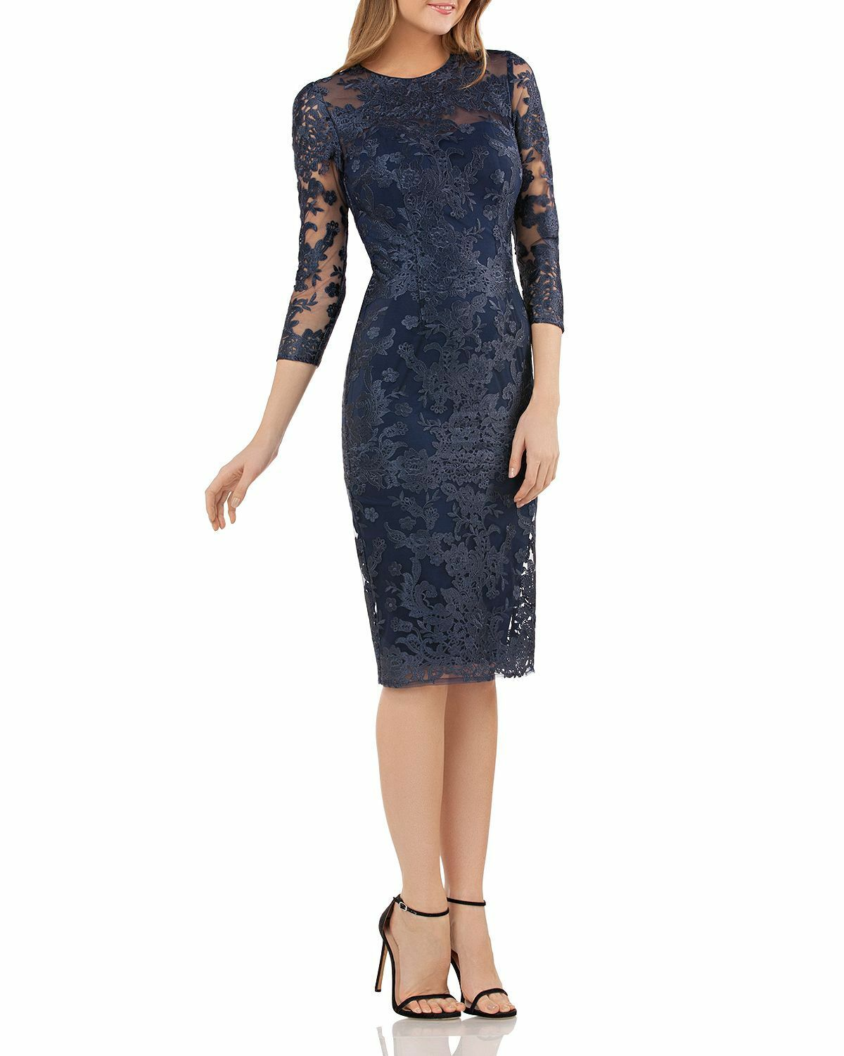 NEW JS COLLECTIONS Navy bluee Embroidered Floral Lace Sheer Sleeve Sheath Dress 8