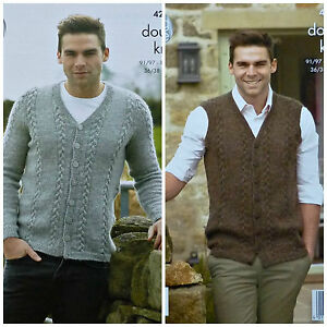 038d3b3fc899 KNITTING PATTERN Mens Cable V-Neck Cardigan   Waistcoat DK King Cole ...