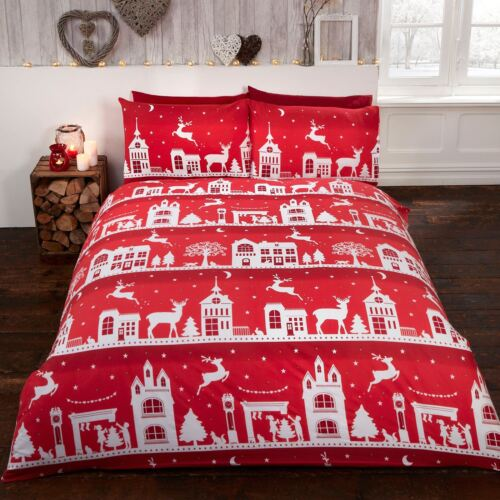 CHRISTMAS REINDEER ROAD RED DUVET COVER SET 100/% NATURAL BRUSHED COTTON DOUBLE