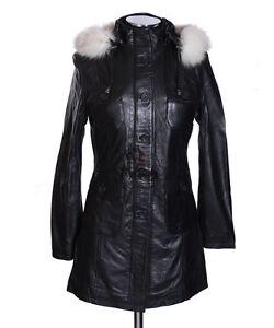 noir Manteau d'agneau et foncé bleu cuir Parka en véritable 80PnwOk