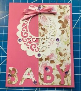 Baby-Girl-Card-Pink-Flowers-Real-Ribbon-Tie-On-Lace-Bib-Stones-Handmade