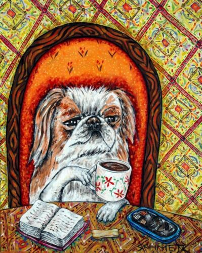 JAPANESE CHIN at the coffee shop cafe  dog art print gift gifts 13x19