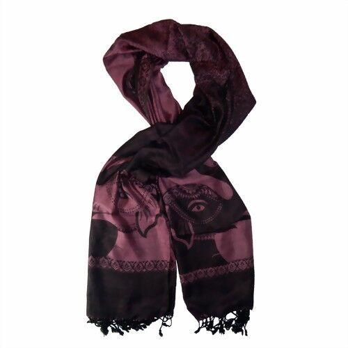 Écharpe Himalaya éléphants rose noir viscose foulard étole foulard Accessoire