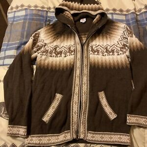 EUC-100-Alpaca-sweater-With-A-Hood-From-Alpaca-Warehouse-Women-s-Medium-Brown