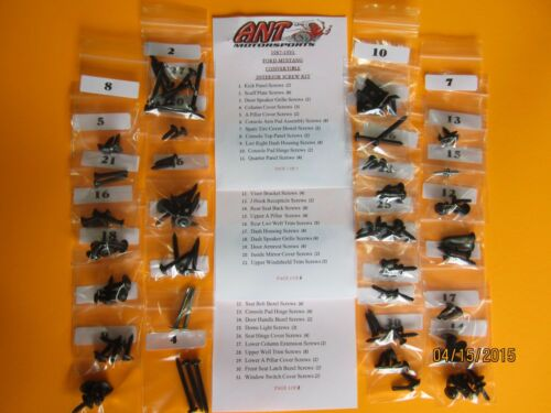 1993 FORD MUSTANG CONVERTIBLE LX GT INTERIOR SCREW KIT 116pcs