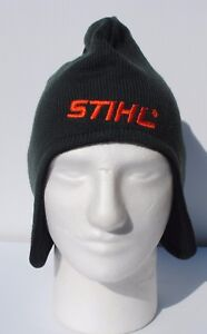 Image is loading STIHL-Beanie-Hat-with-ear-flaps-Cap-Green- 57dd281279d